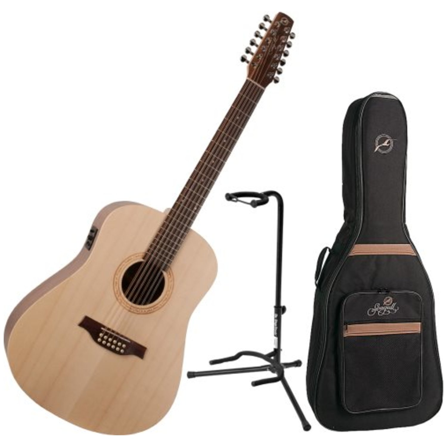 Amazon Seagull Excursion Walnut 12 String Acoustic Electric Guitar W Gig Bag And Stand Musical Instruments