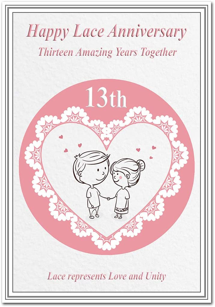 Lace Wedding Anniversary Card 13 Years Special Happy Wishes Blank Inside To Write Own Message Milestone Keepsake Greeting Cards Lace For Love And Unity Couple In Love Amazon Co Uk Office Products