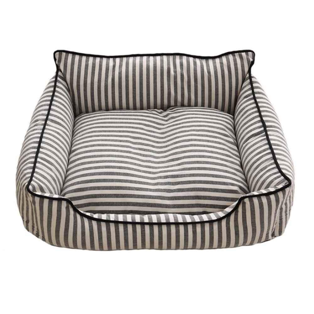 Yangshu Pet Kennel,Removable and Washable Striped Nest Four Seasons Cat Litter Small and Medium Dog Pet (Color : Gray)