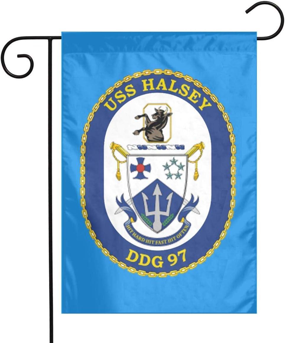 Not Applicable USS Halsey DDG-97 Destructor de misiles guiados Bandera de jardín Bandera Decorativa Bandera de Patio de un Solo Lado al Aire Libre 12.5