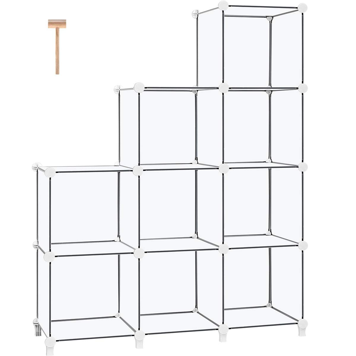 TomCare Cube Storage 9-Cube Book Shelf Storage Shelves Cube Organizer Closet Organizer Shelves Plastic Bookshelf Bookcase DIY Closet Cabinet Organizers Shelving for Bedroom Office Living Room, White