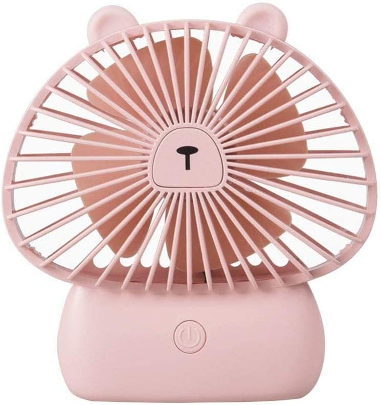 ASDAD Small USB Handheld Fan with LED Night Light Four-Leaf Design Low Noise 3 Speeds Portable Mini Fan for Home Office Outdoor Travel,Yellow,Pink