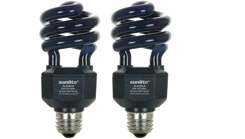 Sunlite SL20/BLB 20 Watt Spiral Energy Saving CFL Light Bulb Medium Base Blacklight Blue - 2 Pack