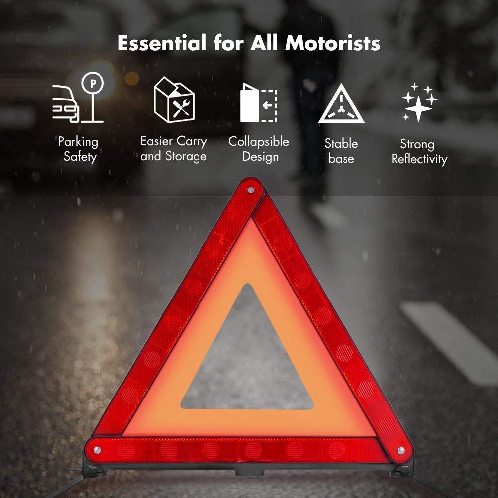 1 Pack MYSBIKER Riflettori triangolari di Avvertimento Kit Triangolo di Sicurezza Stradale Riflettente di Avvertimento Triangolo dEmergenza per autoveicoli con Custodia in plastica