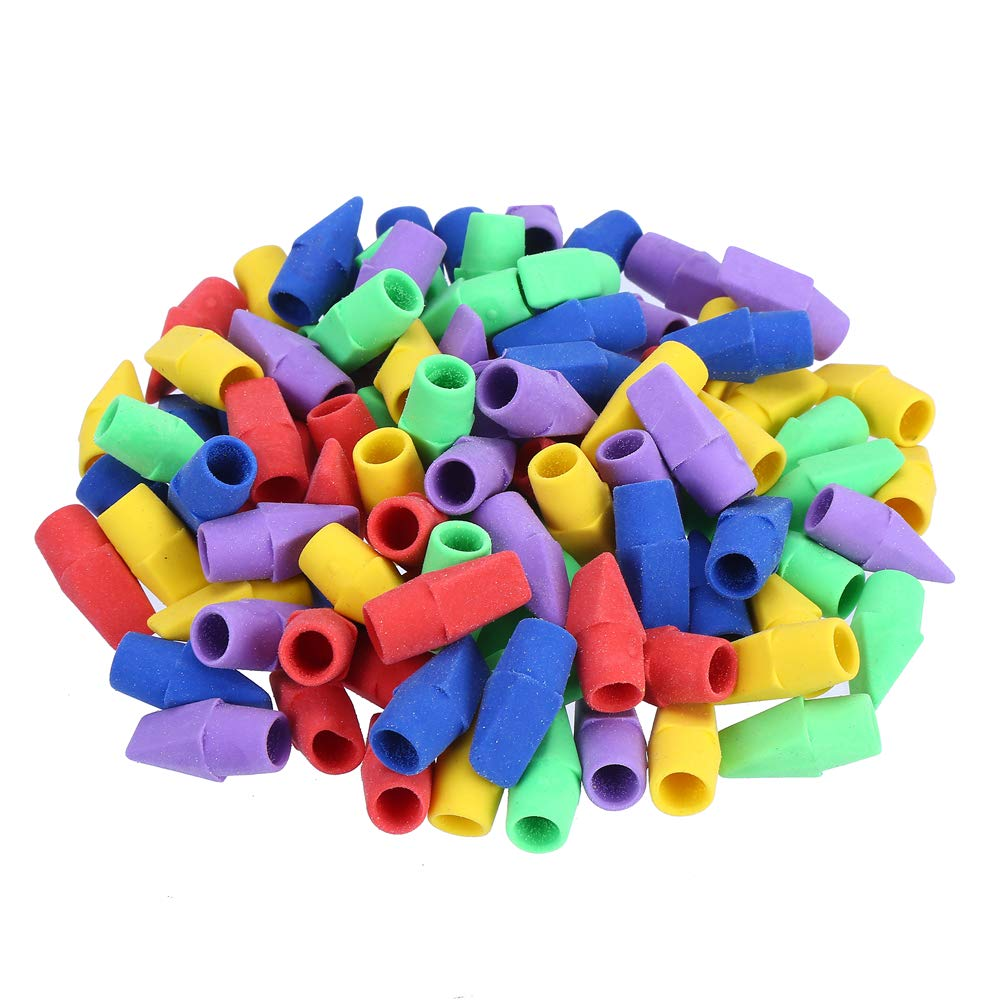LOKIPA Pencil Erasers Caps, Pencil Top Erasers, 100 Pieces Pencil Eraser Toppers for Kids Pencil Top Rubber Learning