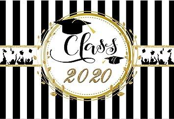DaShan 14x10ft Congrats Grad Backdrop Class of 2020 Graduation Bachelor Cap Photography Background Black and White Stripes College Congratulate Ceremony Prom Dessert Table Decor Photo Props