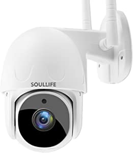 SoulLife Security Camera Outdoor, 1080P PTZ Camera with Pan/Tilt 360° View Night Vision, WiFi Home Surveillance IP Camera, 2-Way Audio Motion Detection Activity Alert Support Max 128G TF Card