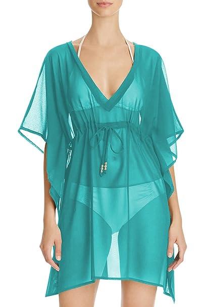 9c0cacb861 Linsery Womens V-Neck Loose Sheer Fashion Bikini Bathing Suits Cover Ups  Blue S