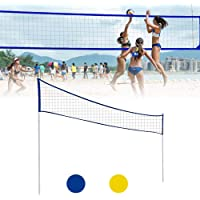 benefit-X Badminton Net, Volleyball Net Outdoor, Adjustable Foldable Badminton Tennis Volleyball Net with Stand Pole, Volleyball Set, for Beach Grass Park Outdoor Venues