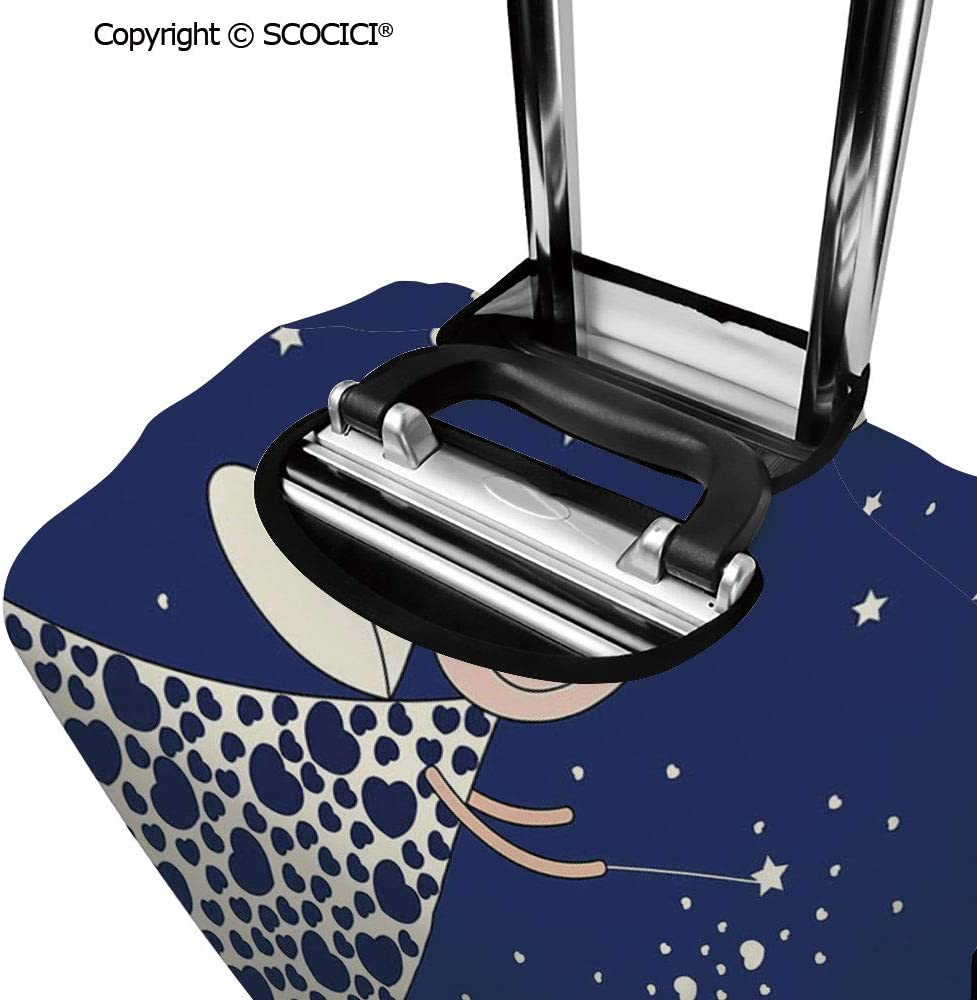SCOCICI Luggage Suitcase Elastic Protective Covers Cute Girls Kids Cartoon Cute Fairy in Sky Casting Magic Over Houses Hearts Stars for Men Women Travel Business