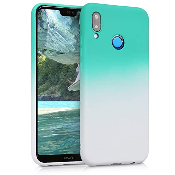 kwmobile TPU Silicone Case for Huawei P20 Lite - Soft Flexible Shock Absorbent Protective Phone Cover - Mint/White