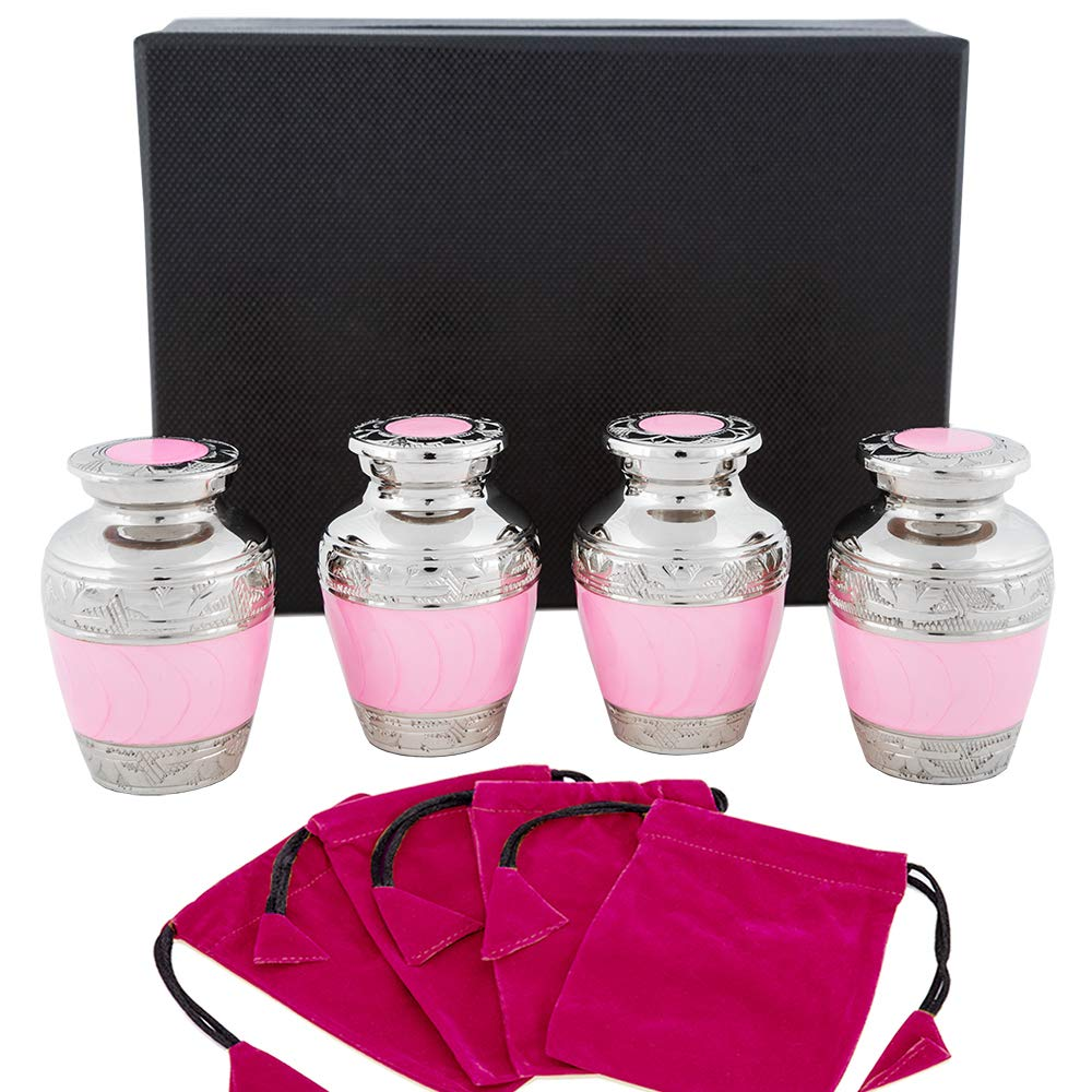 Hugs and Kisses Pink Small Keepsake Urns For Human Ashes -Set of 4 Sharing Urns- Beautiful Small Rememberance Urns for a Lost Daughter, Child Or Baby Girl To Share Amongst Family - w Case and 4 Pouche