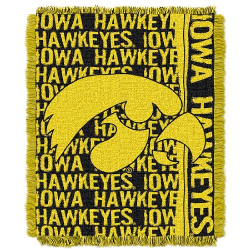 Iowa Hawkeyes Pillow (Officially Licensed NCAA Iowa Hawkeyes Double Play Jacquard Throw Blanket, 48