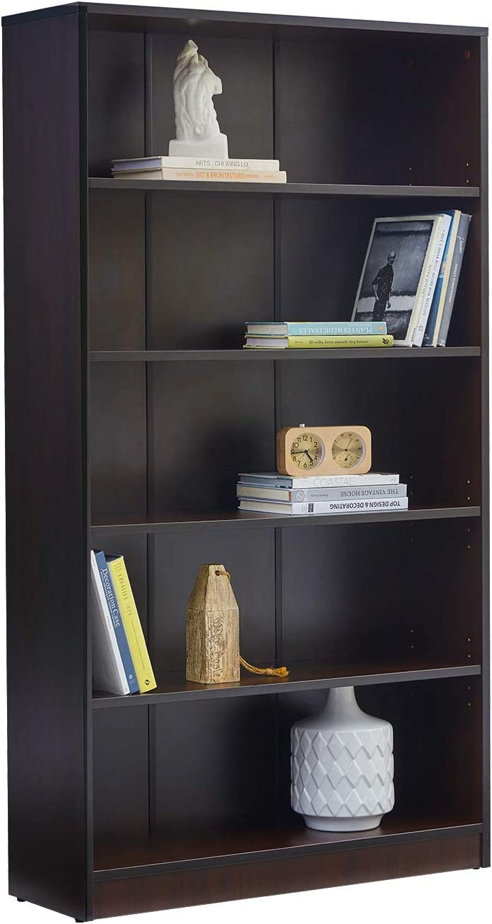 VICLLAX Wood 5-Shelf Bookcase Layer Adjustable Mordern Bookshelf for Home and Office, Espresso