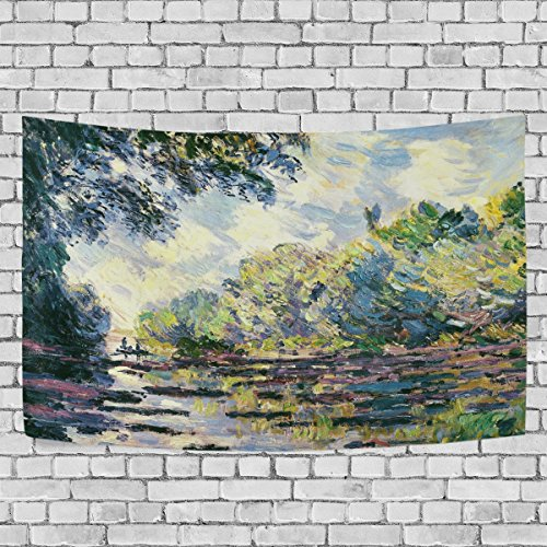 WIHVE Monet's Section Of The Seine Near Giverny Wall Hanging Tapestry with Romantic Pictures Art Nature Home Decorations for Living Room Bedroom Dorm Decor in 90 x 60 (Giverny Photo)