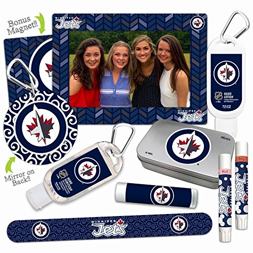 Rink Jet (NHL Winnipeg Jets Platinum Variety Set— with 2 Lip Shimmers, Lip Balm SPF 15, Nail File, Mirror, Sanitizer, Lotion, Mint Tin, Magnetic Picture Frame. Gifts for Women, by Worthy.)