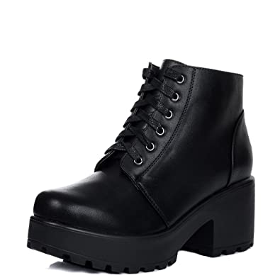 d0caccebd32 Spylovebuy Hothead Women's Lace up Cleated Sole Platform Block Heel Ankle  Boots Pumps