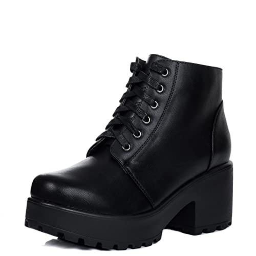 4b30c41170db Lace Up Cleated Sole Platform Block Heel Ankle Boots Shoes Black Leather  Style Sz 3