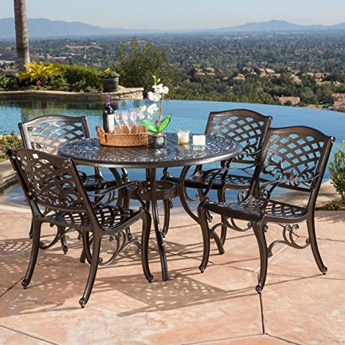 Hallandale Sarasota Cast Aluminum Bronze 5-piece Outdoor Dining Set by Christopher Knight Home (Mesh Top Round Bar Table)