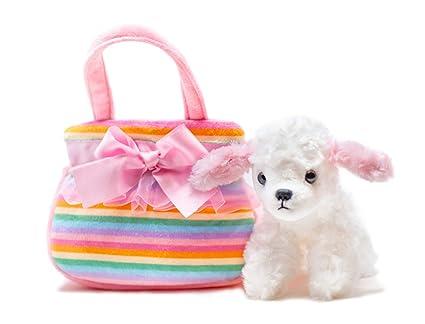 """425052ecf67e Aurora Poodle Fancy Pals Pet Carrier, Pink Rainbow Purse, Lace Trim with  Bow, 8"""" Flopsie Plush"""