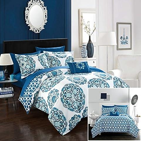 Chic Home Barcelona 8 Piece Reversible Comforter Set, Full/Queen, Blue, 8 - Blue Reversible Comforter