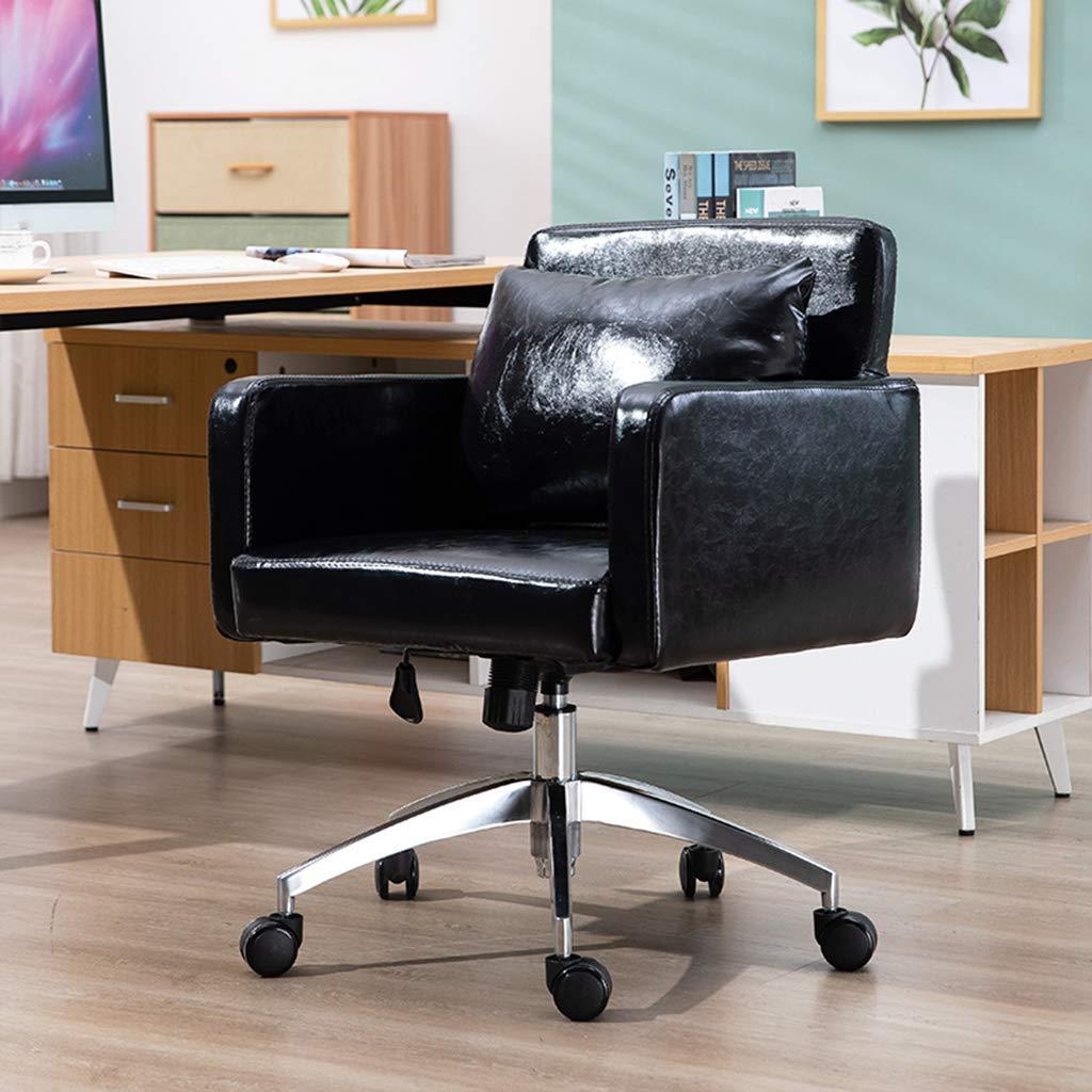SSNG kontorsstol skrivbordsstol, mode soffa uppgiftsstolar, svängbara läder dator skrivbordsstolar, hållbara och stabila, justerbar höjd, för vardagsrum, studierum Svart