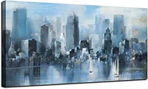 """Cityscape Canvas Wall Art Prints Teal Modern Abstract Brooklyn Bridge Painting Stretched and Framed Modern Navy Blue New York Skyline Buildings White Sailing Picture for Home Office Decor 24""""x48"""", Original Design"""