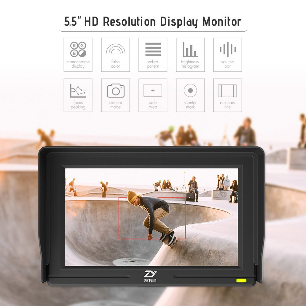 Zhiyun Crane 2 TransMount 5.5Inch Display Monitor IPS Full HD 1920 1080 4K Video Signal Supports HDMI Input 160/° Wide Viewing Angle 1000:1 Contrast with Andoer Cleaning Cloth
