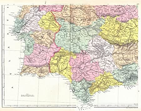 Map Of Southern Spain And Portugal.Iberia Sw Spain Portugal Extremadura Andalucia Castile La Mancha