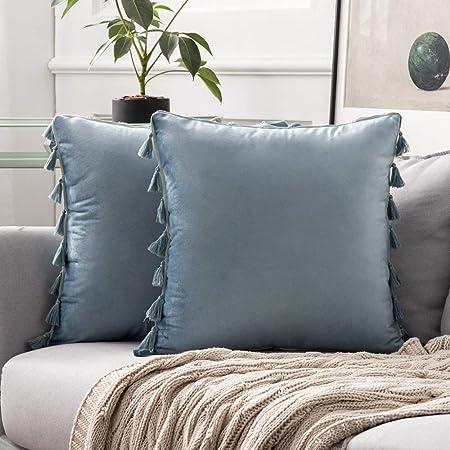 MIULEE Pack de 2 Terciopelo Funda de Borla Cojine Fundas Almohada del Sofá Throw Cojín Decoración Caso de la Cubierta Decorativo Almohadas para Sala de Estar 20x20inch 50x50cm Agua Azul: Amazon.es: Hogar