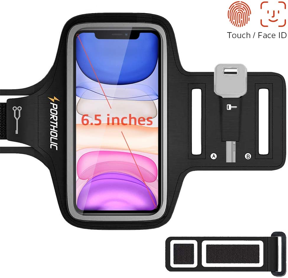 PORTHOLIC Brazalete Deportivo para Correr, Brazalete Movil Running para iPhone 11 Pro Max/X/XS/8p/7p/6p, Galaxy S20/10+/9+/8+, Huawei P40/30/20 Lite, Xiaomi Redmi mi 9 etc, 6,5