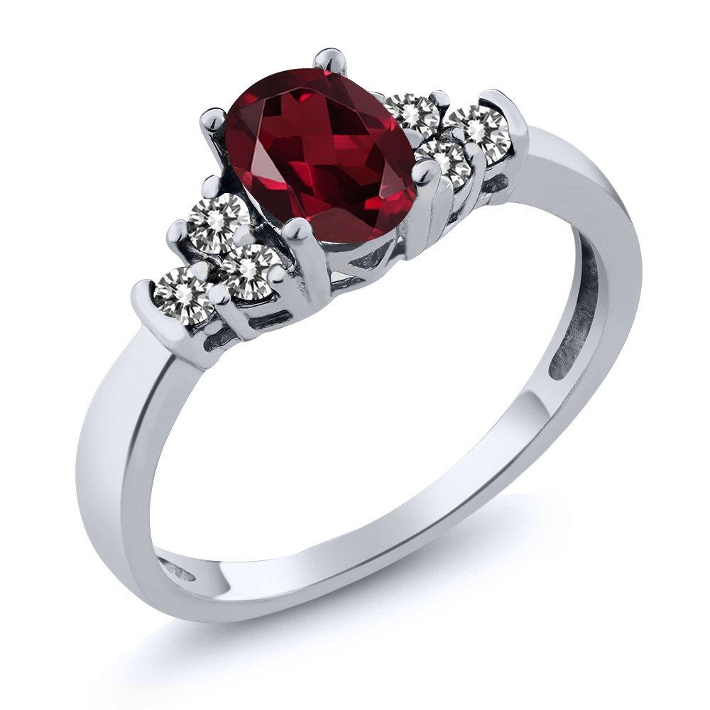 0.76 Ct Oval Red Rhodolite Garnet White Diamond 925 Sterling Silver Ring
