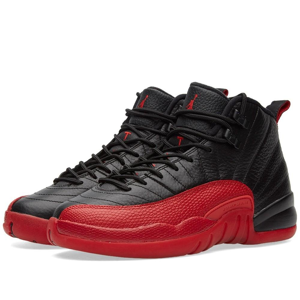 Jordan Kid's Air 12 Retro BG, BLACK/VARSITY RED, Youth Size 4