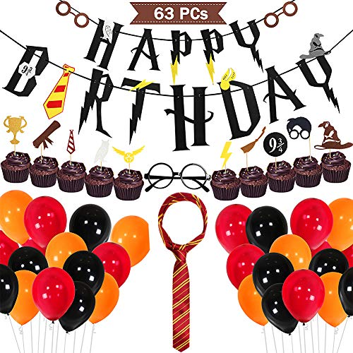 (Harry Potter Birthday Party Supplies Cupcake Toppers Novelty Glasses Striped Tie Happy Birthday Banner Balloons Harry Potter Themed Party Favors)