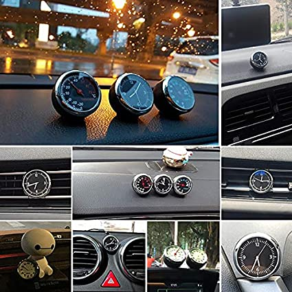 Set of 3 POWSTRO Car Dashboard Quartz Clock Thermometer Hygrometer MIni Digital Monitor Humidity Gauge Clock