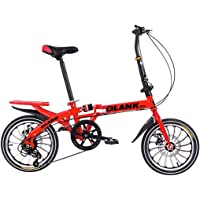 DERTHWER Portable Bicycle 10 Seconds Folding 16inch Wheel Children Adult Women and Man Outdoor Sports Bicycle,Variable 6…