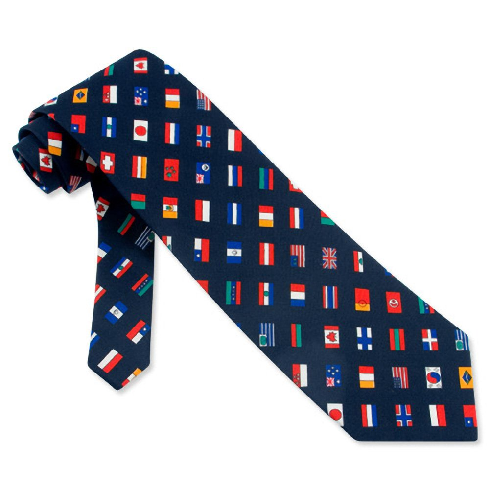 Navy blue Polyester International Flags Tie by Three Rooker