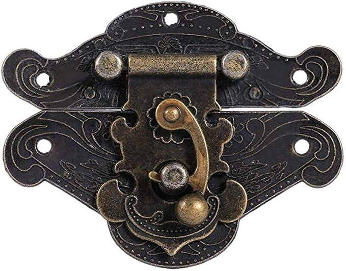 Antique Embossing Latch Hasp Clasp Lock with Screws for Wooden Jewelry Box Cabinet XS 38*29mm