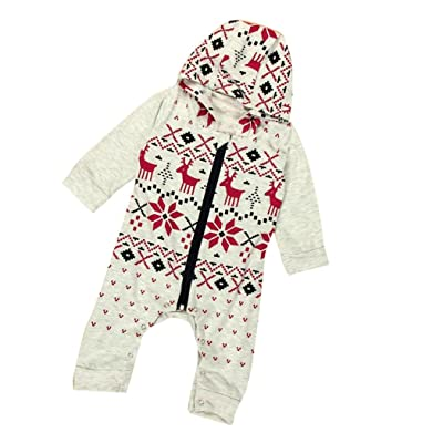 Coerni Premium Christmas Baby Cute Cotton Hooded Romper Jumpsuit