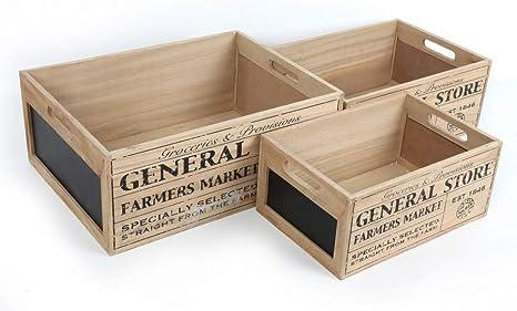Carousel Home General Store - Juego de 3 cajas de pizarra de madera para nido vintage: Amazon.es: Hogar