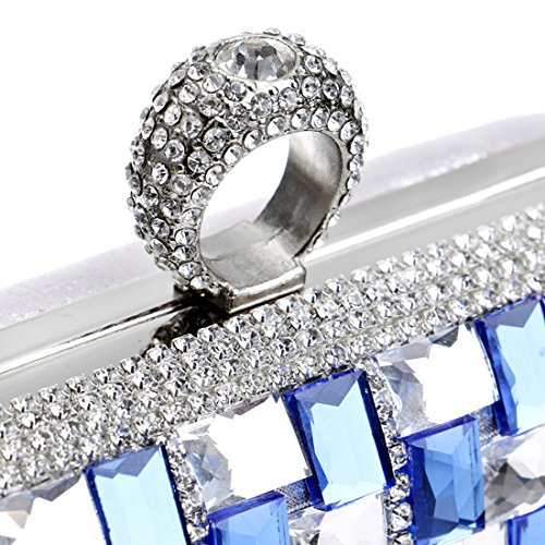 YYW Evening Bag - Cartera de mano para mujer azul real