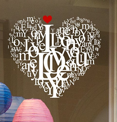 Window Stickers I Love You Love We Love static cling window sticker. Valentine's window stickers