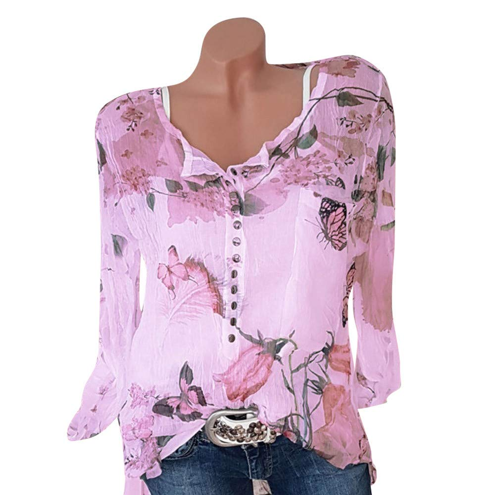 Women's Chiffon Shirts,LuluZanm Sale! Ladies Summer Floral Printed Blouse Casual Button T-Shirt Irregular Hem Tops
