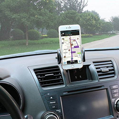 Car Phone Mount,OHLPRO Cell Phone Holder For Car Dash Windshield Dashboard Universal 360°Adjustable Rotating for iPhone Samsung SONY Google All 4''- 6.4'' Smartphones GPS Mobile (Silver) by Ohlpro (Image #1)