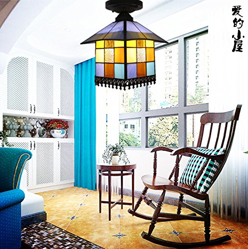 Tiffany small corridor ceiling lamps balcony lamp lights door color bar Mediterranean boutique stair porch Ceiling light ZA DF1 m