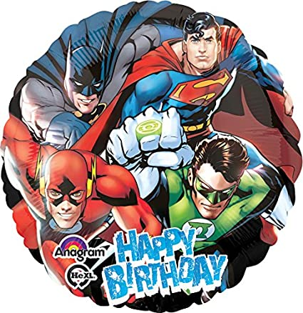 Anagram International Justice League Happy Birthday Foil Balloon Pack, 18