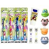COM-FOUR Set di 4 spazzolini da denti per bambini, 4 diversi motivi animali con clessidra giallo & blu bambino dentu crema plus gratis
