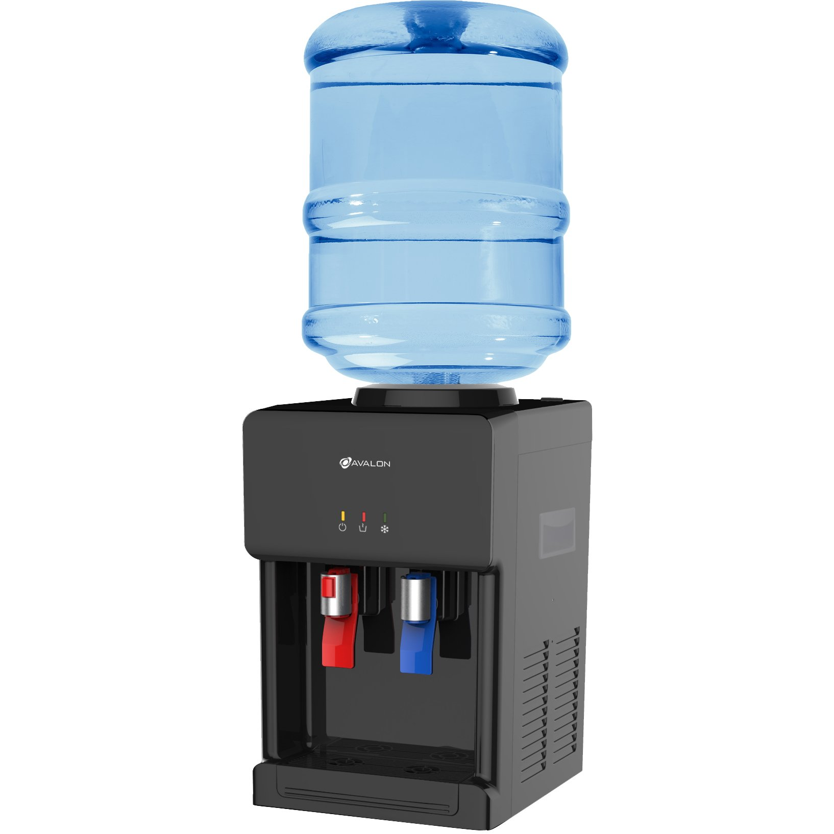 Avalon A1CTWTRCLRBLK Premium Hot/Cold Top Loading Countertop Water Cooler Dispenser With Child Safety Lock, Black