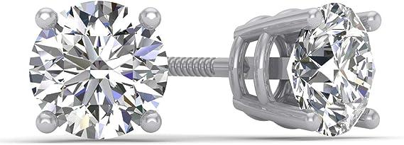 1.00ct tw IGI Certified 14K White Gold Round Diamond Stud Earrings with Screw-Backs (G-H