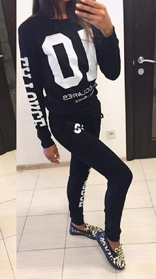 Tootlessly-Women Crewneck Curvy Pullover Letter Printed Tracksuit Outfit